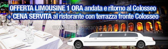 Offerta Limousine con Cena al Ristorante fronte Colosseo